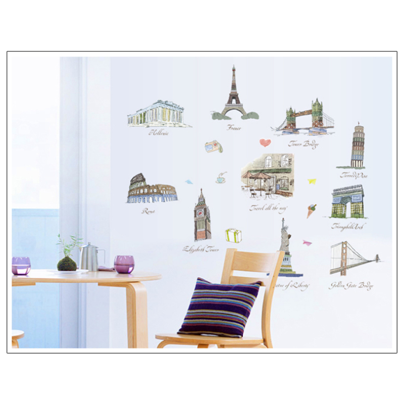 diy removable wall stickers of paris decal