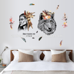 wall decals indian wolf decals for wall Kids bedroom art decor reusable