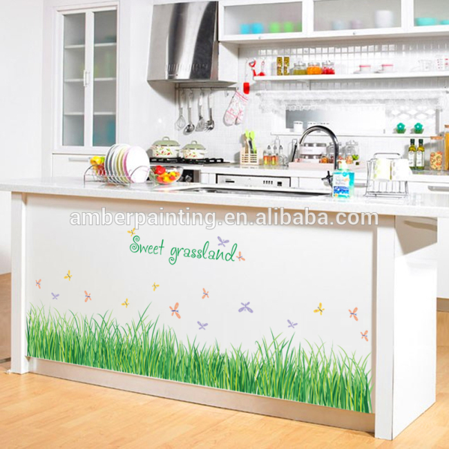 promotional removable nursery vinyl wild green grass wall decals