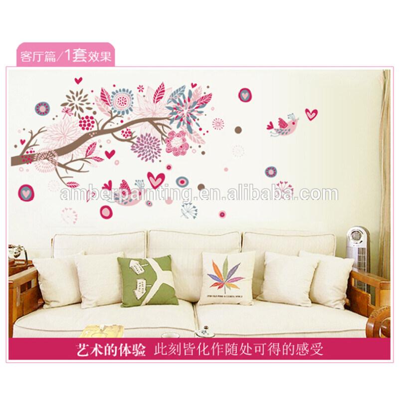 nursery school decorative wall stickers pink flowers removable wall sticker