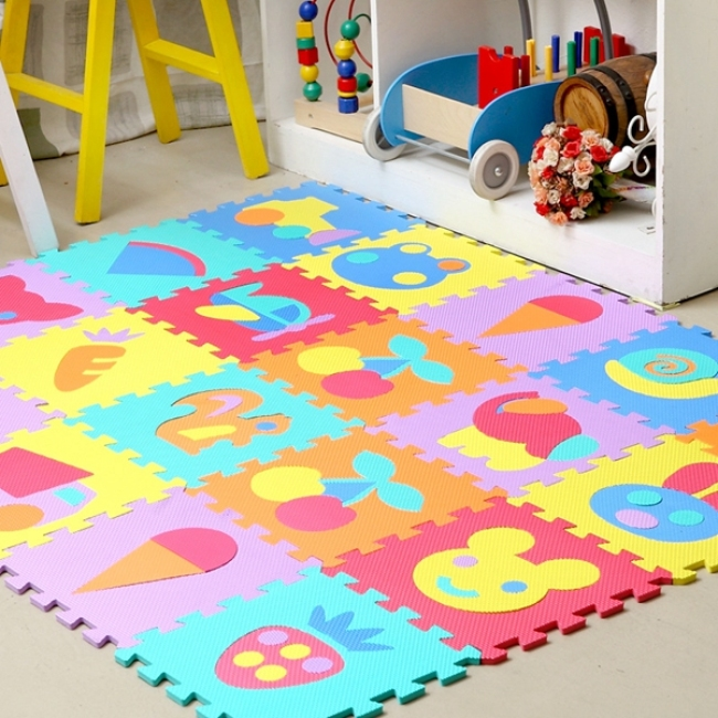 Interlocking exercise eva foam alphabet play puzzle mat for kids