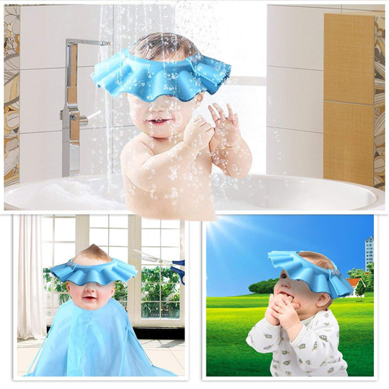 Superseptember Soft protective reusable baby shower cap
