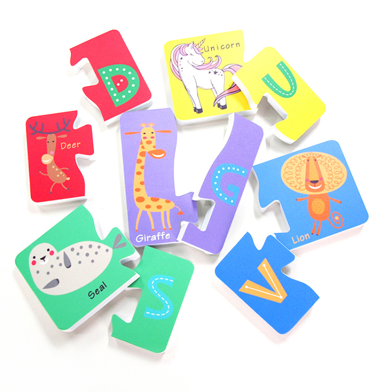 jigsaw puzzle alphabet letters and animals child educational EVA foam bath toy with printing