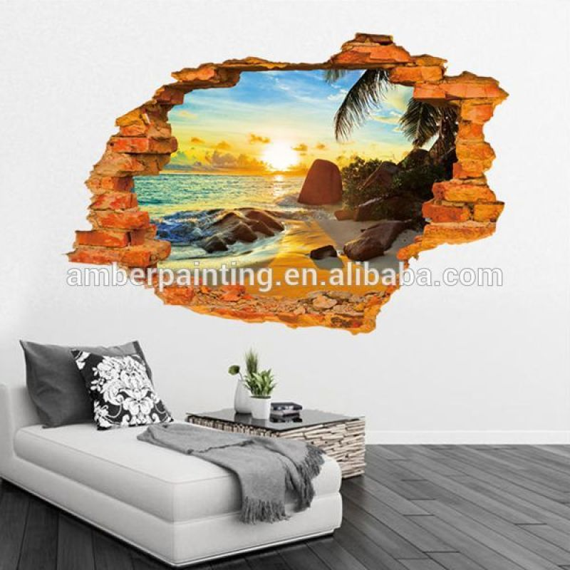 Wholesale removable PVC 3d scenery wall sticker for home decoration