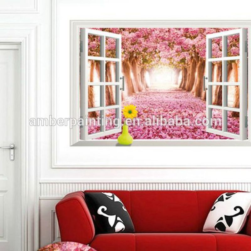 Wholesale custom design fake window 3d scenery wall sticker