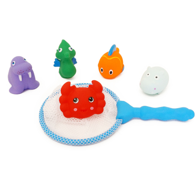 6pcs set animal fish silicone baby bath tub animal squirt toys set with fishing net