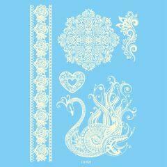 Body decor waterproof white henna lace tattoo sticker for wedding