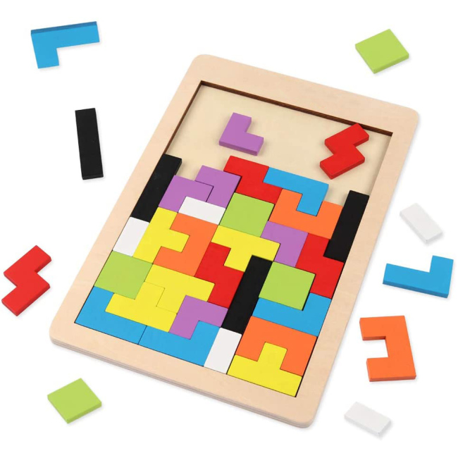 Baby Kids Tetris Puzzle Brain Teasers Toy Tangram Jigsaw Intelligence Colorful 3D Russian Blocks puzzles games