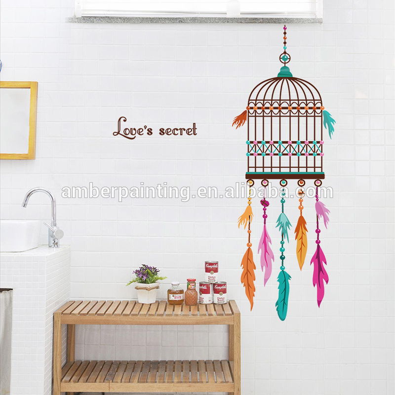 dream colorful feathers wall decals birdcage for boys and girls bedroom
