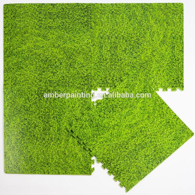 foam coating card game play mat baby foam exercise green grass mat
