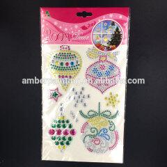 self-adhesive hot fix rhinestone puffy sticker design crystal templates