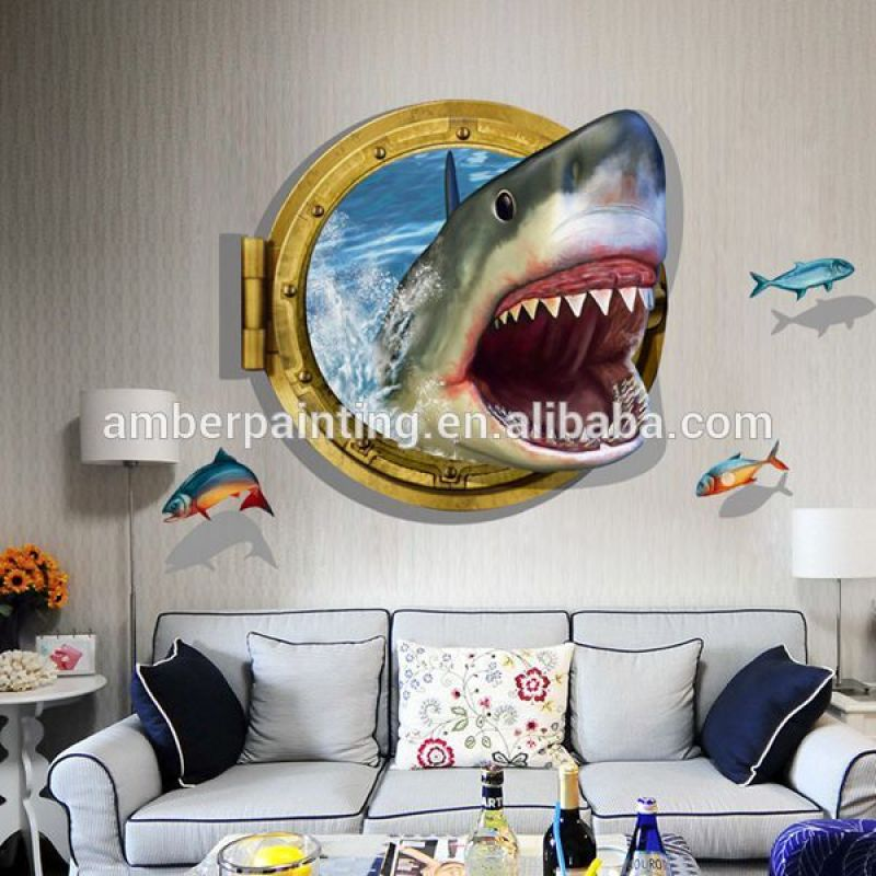 2016 New shark mural view 3d effect wall sticker for kids room decor