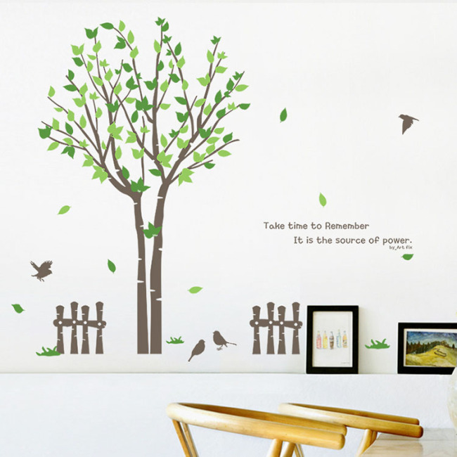 Hot sale PVC wall sticker tree design for living room background