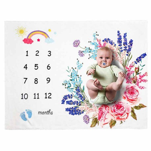 Hot sale baby monthly organic double sided milestone blanket for baby shower photograph baby milestone blanket photo