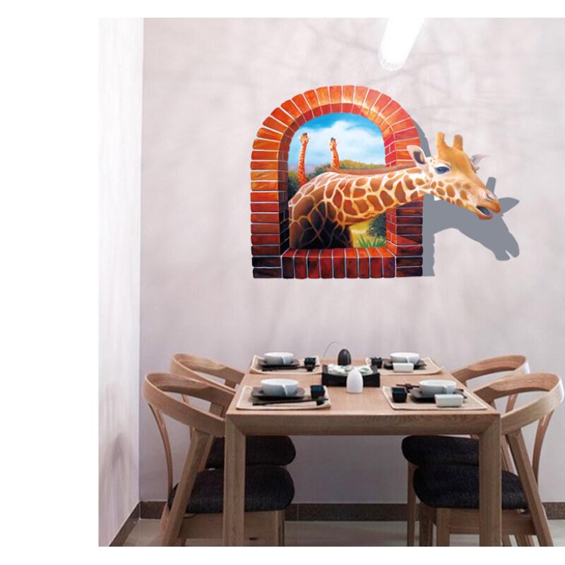 3d wall murals sticker of giraffe
