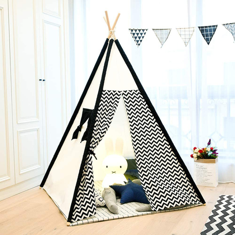 Teepee Tent for Kids with Mat- Play Tent for Boy Girl Indoor & Outdoor Heavy Cotton Canvas Teepee tent indian