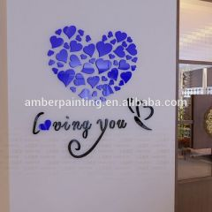 Customize heart shape 3d acrylic wall sticker adhesive removable sticker
