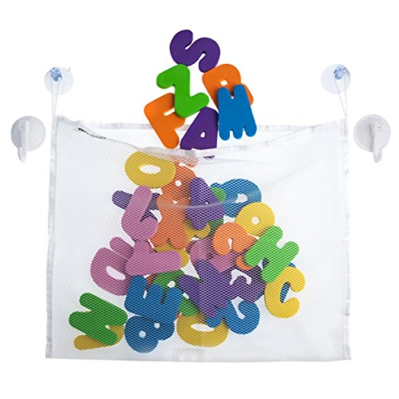 36 Foam alphabet letters and numbers for bath time with mesh toy organizer