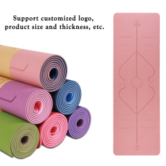 Custom high-quality fitness pu tpe yoga mat 6 mm pink yoga mat