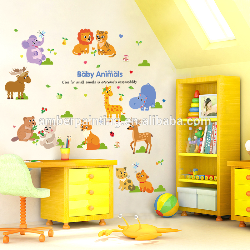 nursery kids room removable zoo animalsfox silhouette wall decals