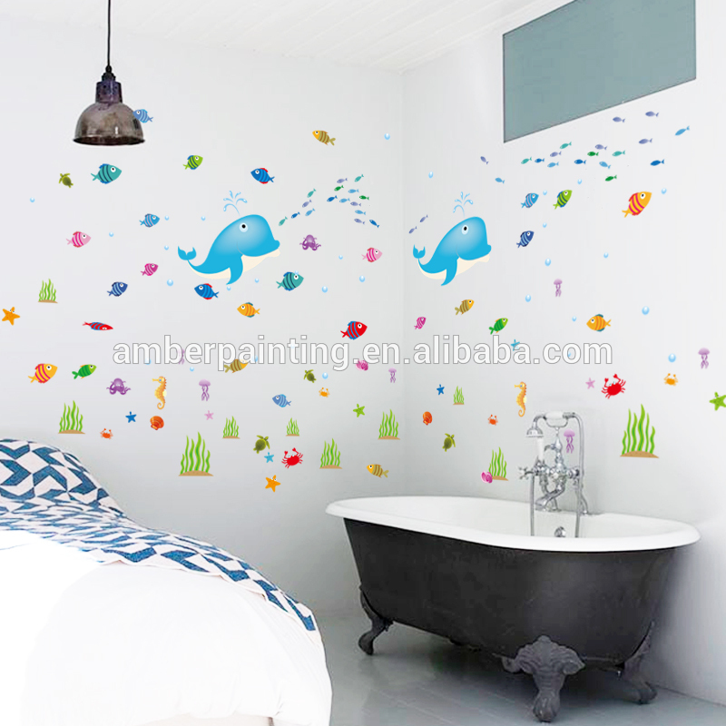 colorful fish vinyl wall decals sea life animal for children living room