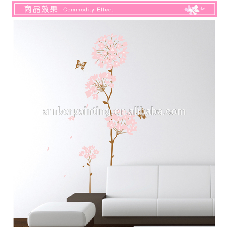 Hotel or family modern flowers sticker wall girl stickers for wall
