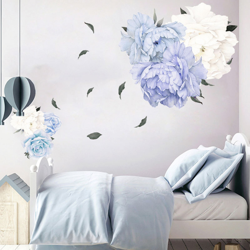 Waterproof PVC sticker house Wall Decals Floral for Sofa Background Living Room