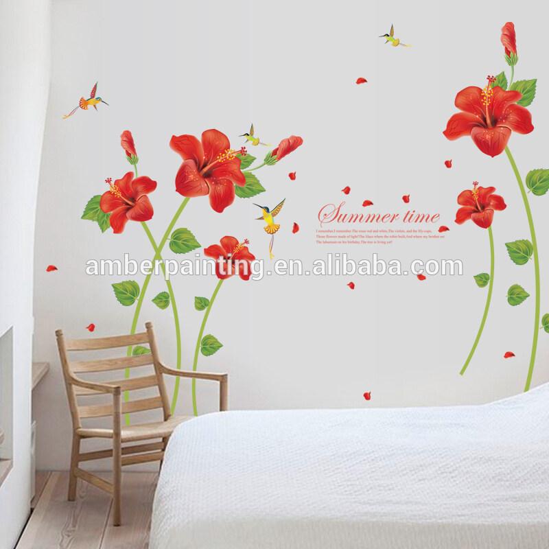 3d red flower wall decals birds balcony window sticker