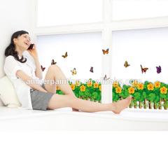 PVC living room sofa orange flower roommates butterfly wall decals