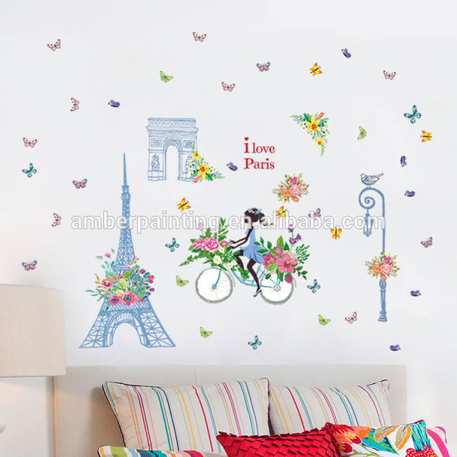 Home decorative funny decor romantic wall decals effiel tower