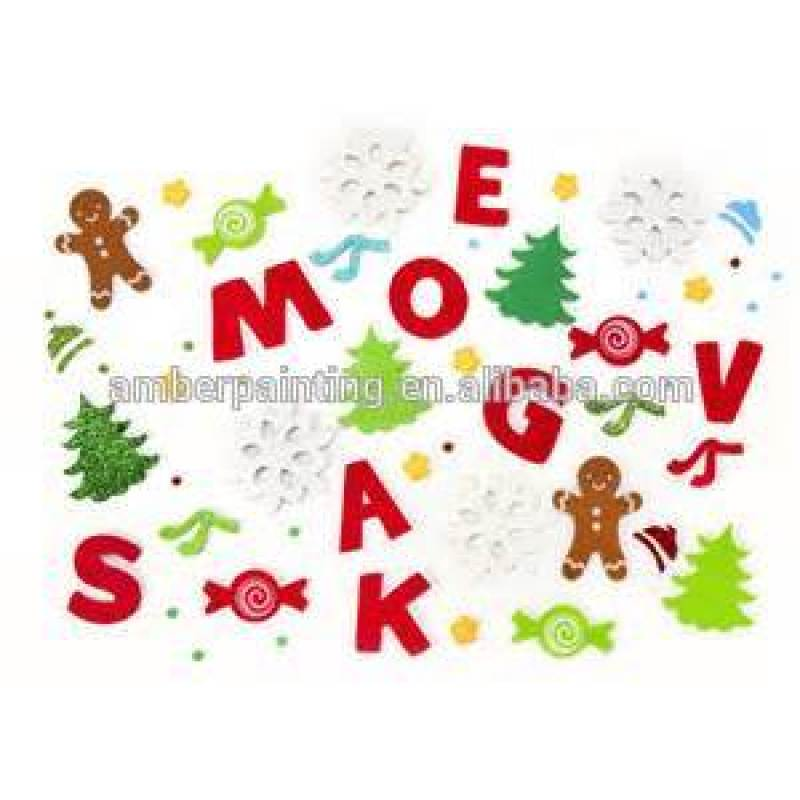 Custom made promotion glitter letter stickers foam alphabet sticker