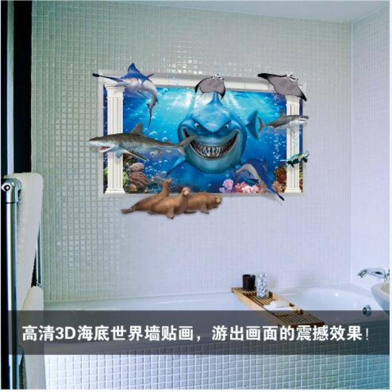 3d wall decor stickers of shark for home decoration