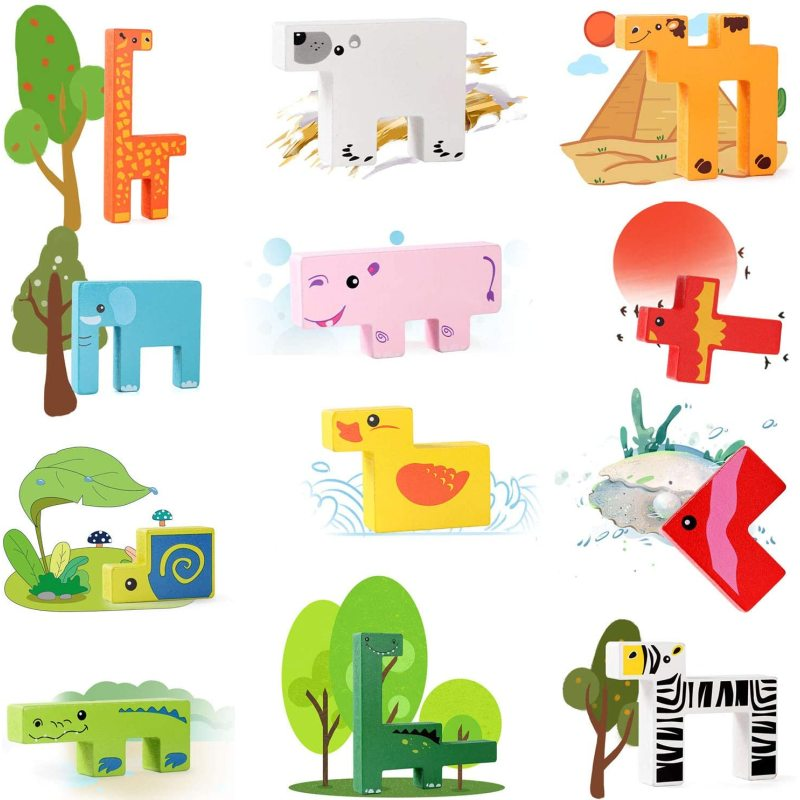 Wooden Puzzle Brain Teasers Toy Building Blocks Game Wood Puzzles Intelligence Educational Toys for Preschool Children Kids