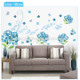 Family wall sticker navy blue wall stickers of flowers