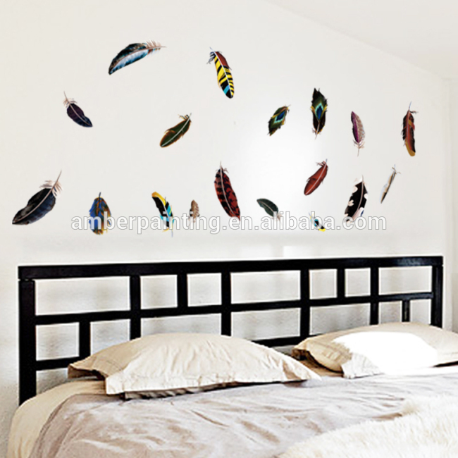 friend colorful feather vinyl pattern wall decals wall treatments stickers