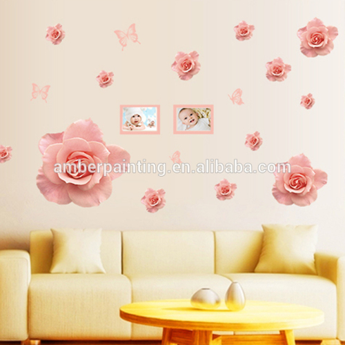 2017 hot selling family living room beauty wall stickers pink rose wall stickers