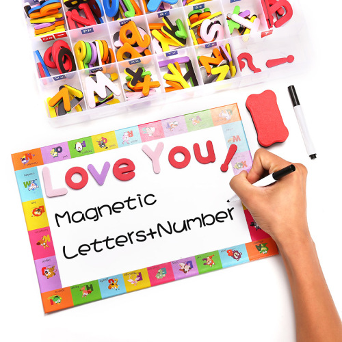 Magnetic multicolor alphabet toy set painting tool whiteboard can be customized