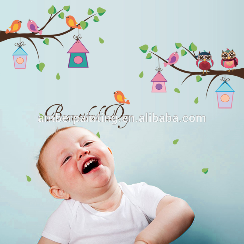Promotional custom owl 3d bird house wall decals for baby room