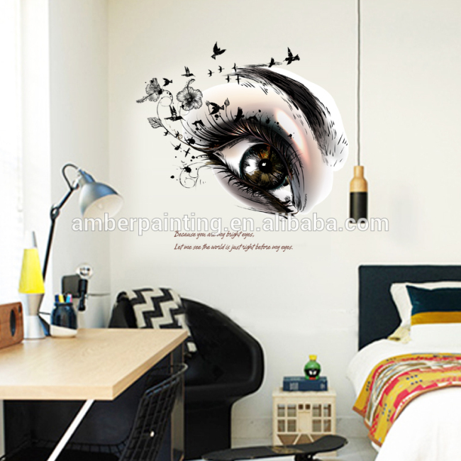 DIY PVC vinyl big eyes wall decals decor kichen