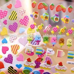Self adhesive custom design kids cute cartoon puffy sticker