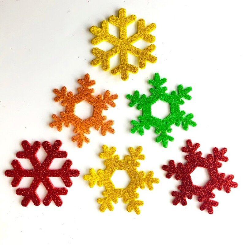 promotional gift foam 3D glitter snowflake shape Foam stickers for children