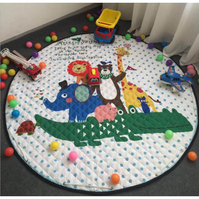 Wholesale Thicken kids cartoon animals play mat toy storage bag slideaway organizer basket and play mat in stock