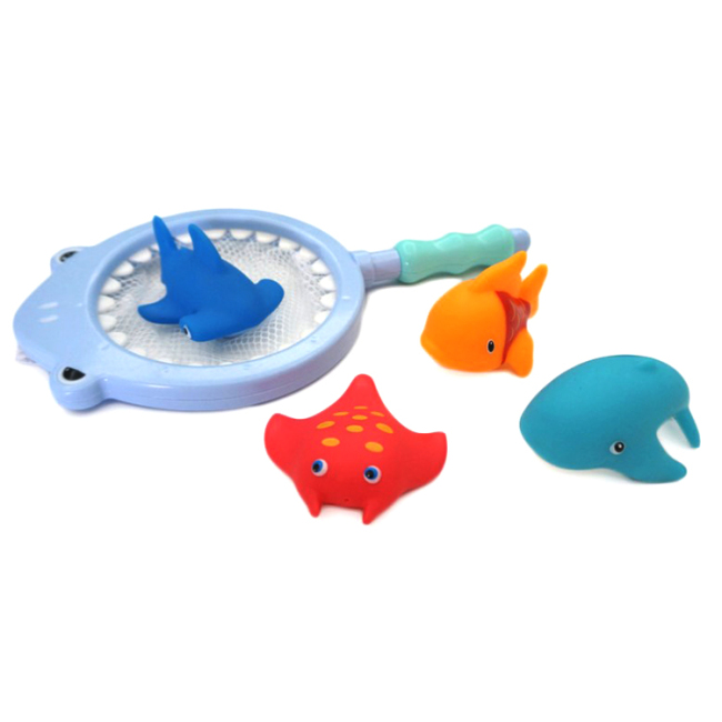 5pcs set fish animal silicone baby bath tub squirt toys set with fishing net