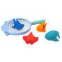 5pcs set fish animal silicone baby bath tub squirt toys set with fishing net