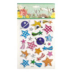 new design low cost glitter star puffy sticker make up use product
