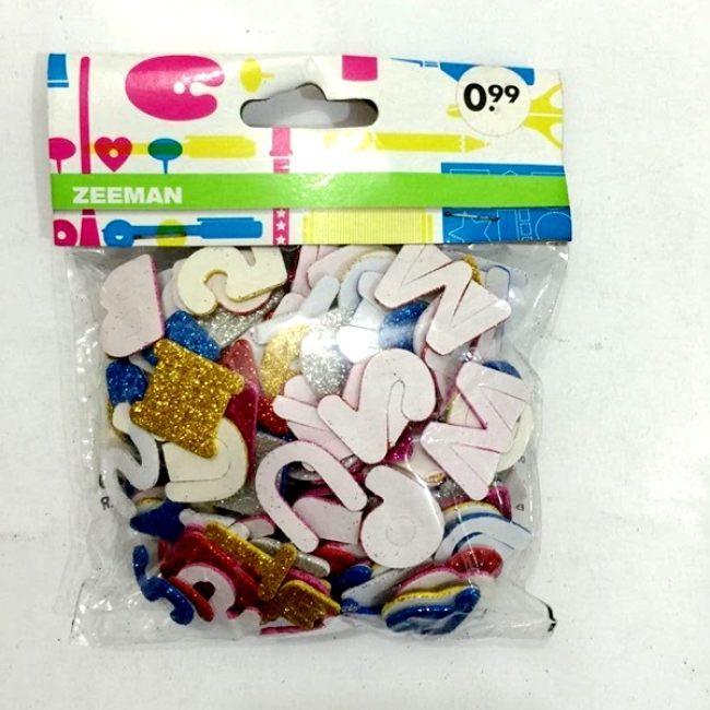 Self adhesive eva sticker alphabet number foam sticker for kids