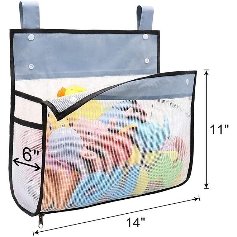 Mesh Bath Toy Organizer Multiple Ways to Hang Ultra Large Capacity & Large Opening Bathtub Baby Toy Storage Bag