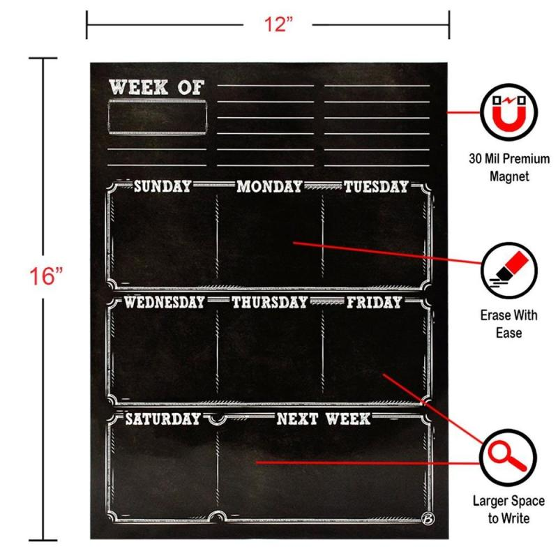 customized magnetic sticker blackboard sheet organizer and planner for refrigerator and wall