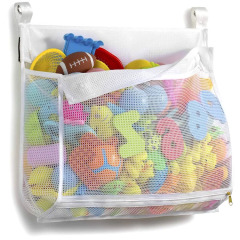 Bottom Zippered and Greater Capacity Bath Toy Organizer Storage Bag For Kids with 2 Side Pockets With Strong Hooks