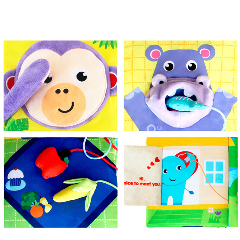 custom printing Intellectual development parent-child exchange interactive toy cloth book for babies